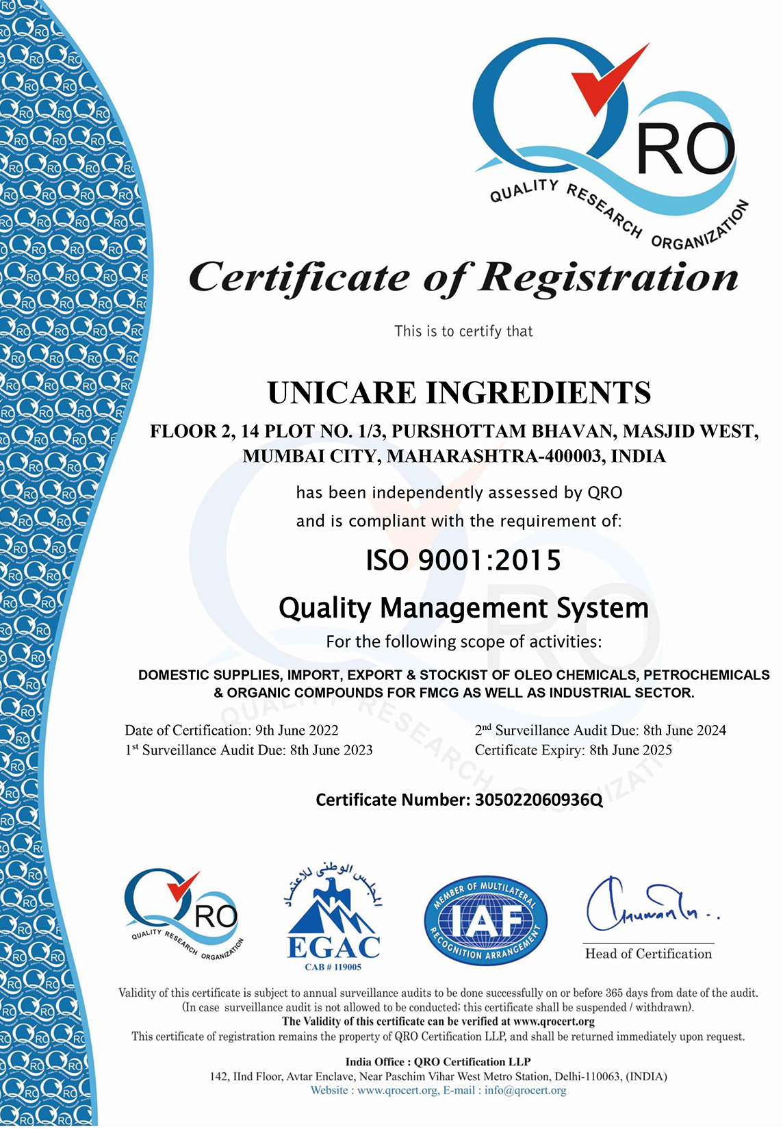 Unicare Ingredients An ISO 9001:2015 Certified Company